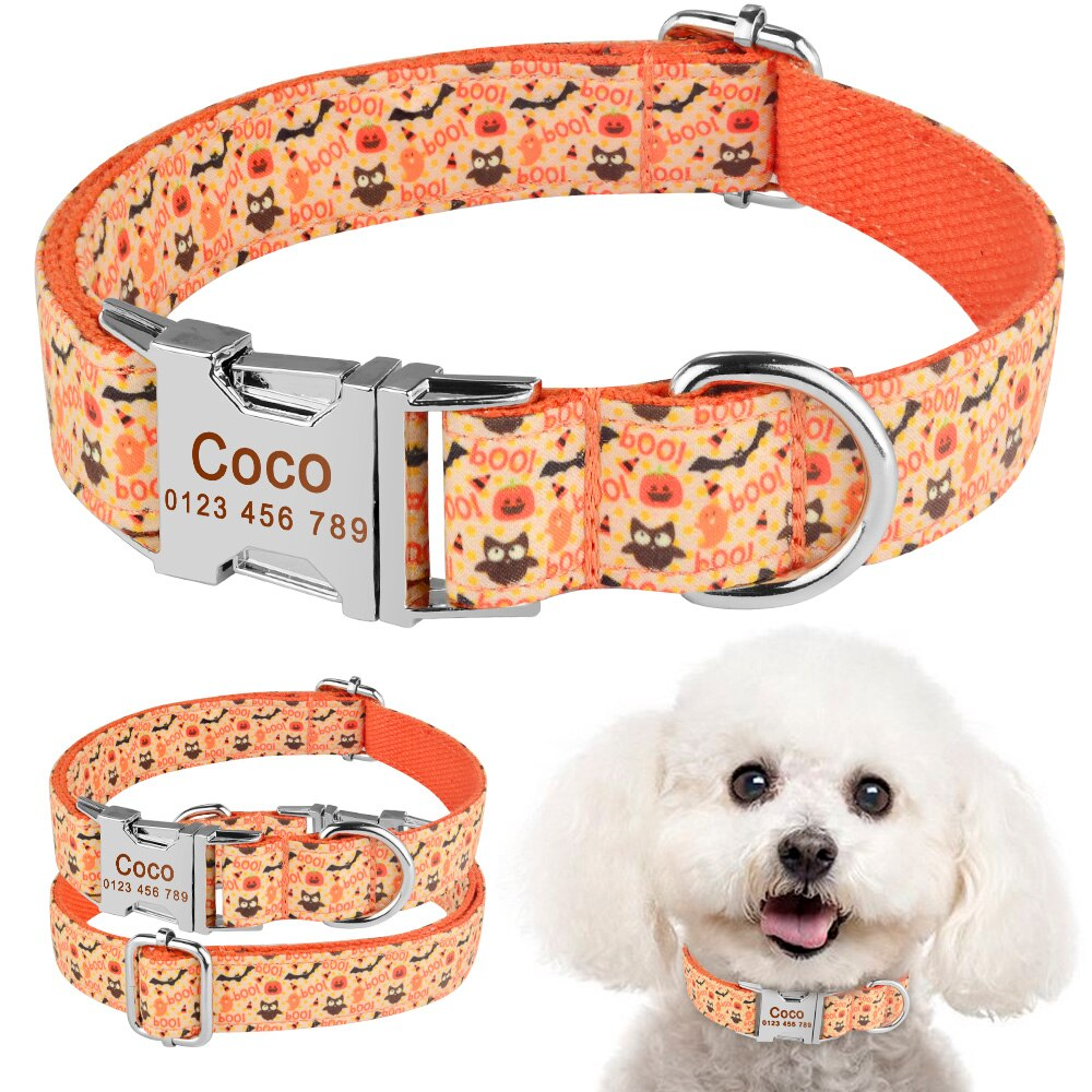 91  Personalized Dog Collar Durable Nylon Floral Pet Puppy Name Custom Engraved XS-L
