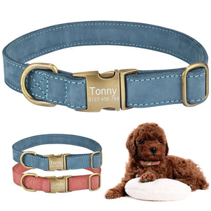 94 Personalized Dog Collar Durable Leather Puppy Name ID tag Custom Engraved S M L