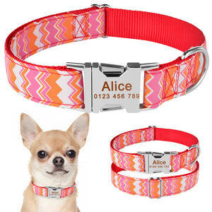 92 Personalized Dog Collar Fabric ID Name Tag Buckle Custom Engraved Puppy S M L