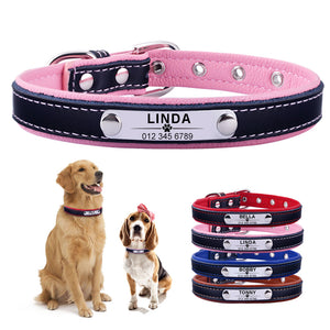 96 Leather Personalised Dog Collar Pet Cat Custom Engraved Name ID Tag Puppy Soft L