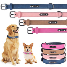 Load image into Gallery viewer, 96 Personalized Leather Dog Collar Free Engraved Name ID Puppy Collar Tags XS S M L
