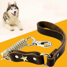将图片加载到图库查看器,8 Large Dog Leather Leash Lead Heay Duty Spring Dog Chains Strong Quality Labrador Husky Short Leash Traction Rope Pet Accessories