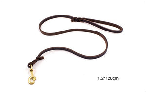 8 Soft Handmade Leather Dog Training Leads Dog Walking Cowhide Rope Durable Dog Leash Traction with Copper Hook 1.2cm Width