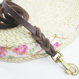 8 Braided Genuine Leather Dog Leash for Medium Large Dogs High Quality Long Pet Walking Training Leads Length 1.8m 2.8m