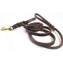 Load image into Gallery viewer, 8 Braided Genuine Leather Dog Leash for Medium Large Dogs High Quality Long Pet Walking Training Leads Length 1.8m 2.8m