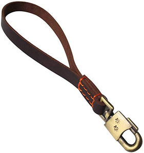 8 Genuine Leather Dog Short Leash Training Traffic Lead Leash for Medium Large Dogs Professional Heavy Duty Walking Lead Dog Chain