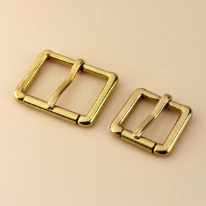 Z5  Brass Metal Heel Bar Buckle End Bar Roller Buckle Rectangle Single Pin for Leather Craft Bag Belt Strap 4 sizes available