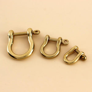 Solid Brass Carabiner D Bow Shackle Fob Key Ring Keychain Hook Screw Joint Connector Buckle