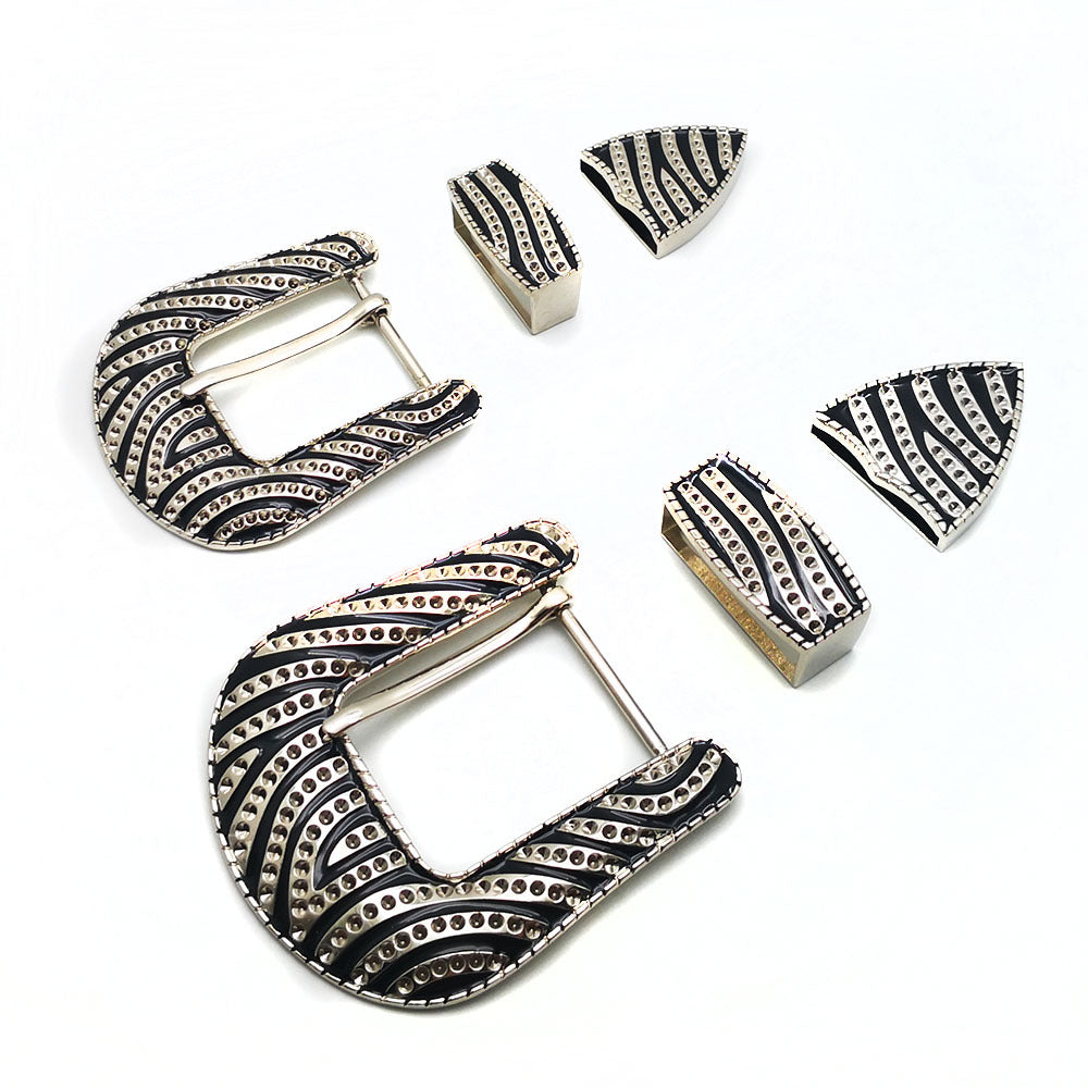 7.1 32mm 40mm metal belt buckle high quality carved stripe 3 pcs/set Pin Buckles leather craft for women men's belt Jeans Decoration