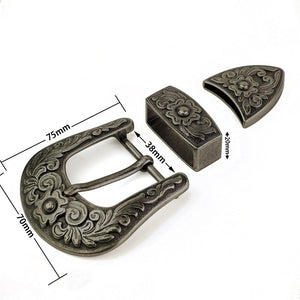 7 NEW 38mm vintage carve pattern Women Western Cowgirl Waist Belt Metal Pin Buckle DIY leather craft belt buckle antique silver