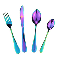 Load image into Gallery viewer, LUCF Fashion Stainless Steel Western Cutlery Set 4 Pcs/Set Shining Rainbow metal luxury Dinnerware Sets tableware set for family