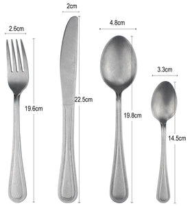 LUCF 2020 New Retro Stainless Steel Western Cutlery antique craft matte vintage style tableware Fork/Knife/Spoon factory price