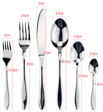 将图片加载到图库查看器,LUCF Top Grade Stainless Steel Luxury Cutlery pretty Western Dinnerware cake fork coffee spoon 6pcs various size for housekeeper