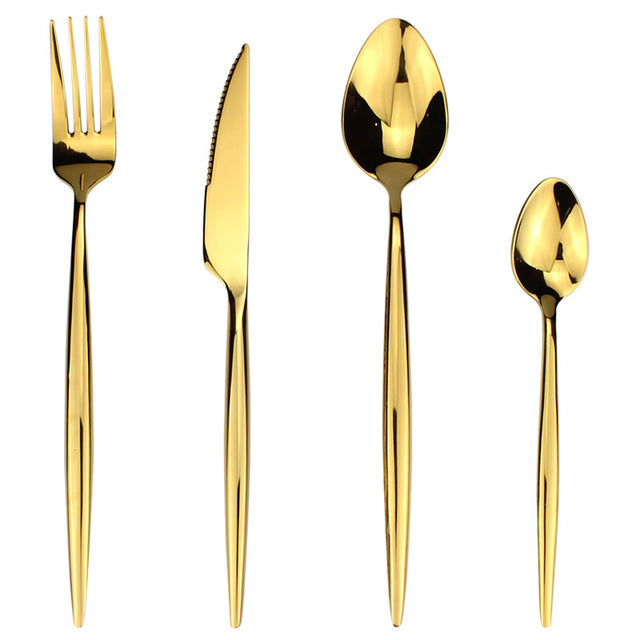 LUCF Fashion standard Golden 4 in 1 Stainless Steel Western Cutlery Set metal shining Dinnerware Sets flatware family recommend