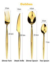 Load image into Gallery viewer, LUCF Fashion standard Golden 4 in 1 Stainless Steel Western Cutlery Set metal shining Dinnerware Sets flatware family recommend
