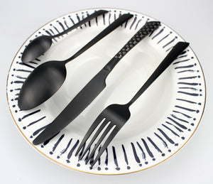 LUCF Top Grade fantastic matte Stainless Steel Western Dinnerware pattern perfect shape 4 in 1 standard Cutlery sets Tableware