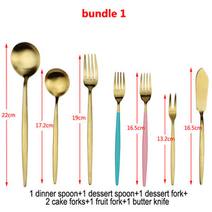 LUCF Hot Style Stainless Steel Western Cutlery Set various tableware Knives/Forks/Spoon Sets Popular fashion Dinnerware Set