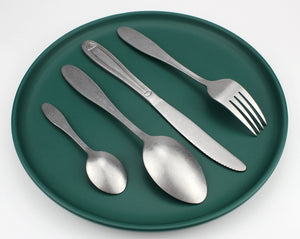 LUCF Tradition Stainless Steel Western vintage Cutlery delicate matte antique style Dinnerware casual tableware for home kitchen