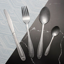 将图片加载到图库查看器,LUCF Tradition Stainless Steel Western vintage Cutlery delicate matte antique style Dinnerware casual tableware for home kitchen