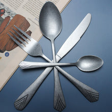 将图片加载到图库查看器,LUCF Classic matte vintage style Stainless Steel Cutlery archaistic royal Western Dinner untensils flatware for home restaurant
