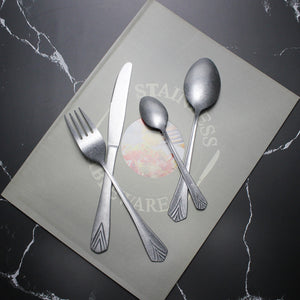 LUCF Classic matte vintage style Stainless Steel Cutlery archaistic royal Western Dinner untensils flatware for home restaurant
