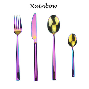 LUCF 4 in 1 Set Stainless Steel fashion Colorful Western Dinnerware Set pretty metal Cutlery Sets tableware for kitchen home