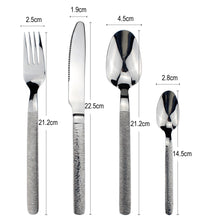 将图片加载到图库查看器,LUCF Luxury texture handle Stainless Steel Western Cutlery vintage noble style Dinnerware flatware for family restaurant