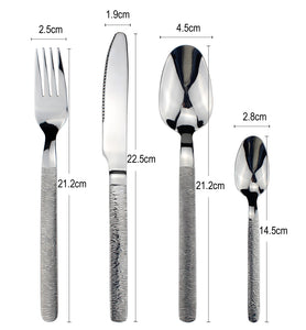 LUCF Luxury texture handle Stainless Steel Western Cutlery vintage noble style Dinnerware flatware for family restaurant