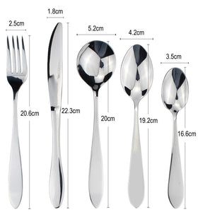 LUCF Fashion shape Mirror Polish Stainless Steel Western Cutlery Simple stylish Dinnerware flatware for home modern kitchen