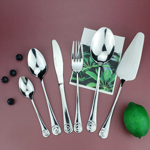LUCF Stainless Steel Western Practical Dinnerware with Cake Server 6pcs Separate Resonable Cutlery Mirror Polish for family