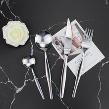 将图片加载到图库查看器,LUCF fashion brief Stainless Steel Western Cutlery Round shape spoon stately Tableware freewill order wonderful birthday gifts