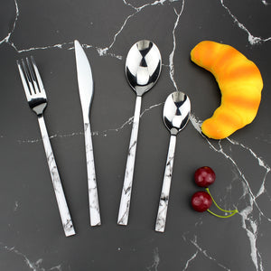 LUCF Texture style plastics handle Stainless Steel Western Cutlery Set 4 in 1 durable fashion Dinnerware Set flatware for family
