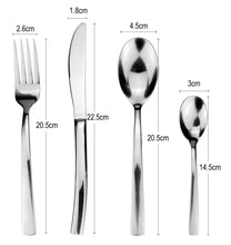 Load image into Gallery viewer, LUCF classic style Stainless Steel Western Cutlery mirror polish single sale Dinnerware Fork/Knife/Spoon for Family Restaurant