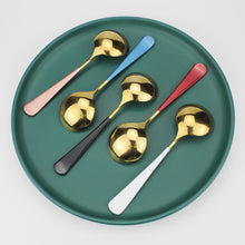 Load image into Gallery viewer, LUCF Colorful Stainless Steel cute Ice Spoon Fashion Coffee Scoop metal Dessert Spoons Tableware Cutlery for family kids party