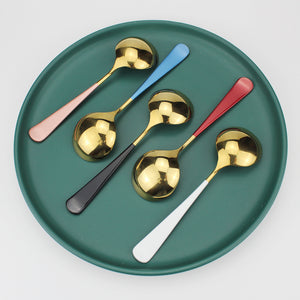 LUCF Colorful Stainless Steel cute Ice Spoon Fashion Coffee Scoop metal Dessert Spoons Tableware Cutlery for family kids party