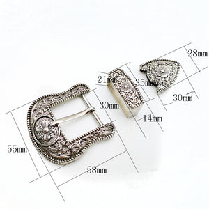 7.1 30mm vintage carve pattern beautiful metal women men DIY leather craft belt buckle set antique silver color 3pcs parts/set