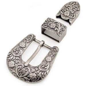 7.1 25mm vintage carve pattern beautiful metal women men DIY leather craft belt buckle set antique silver color 3pcs parts/set Acces