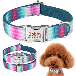 91 Blue Green Personalized Dog Nylon Collar Engraved Pet Name Small Medium Large XS