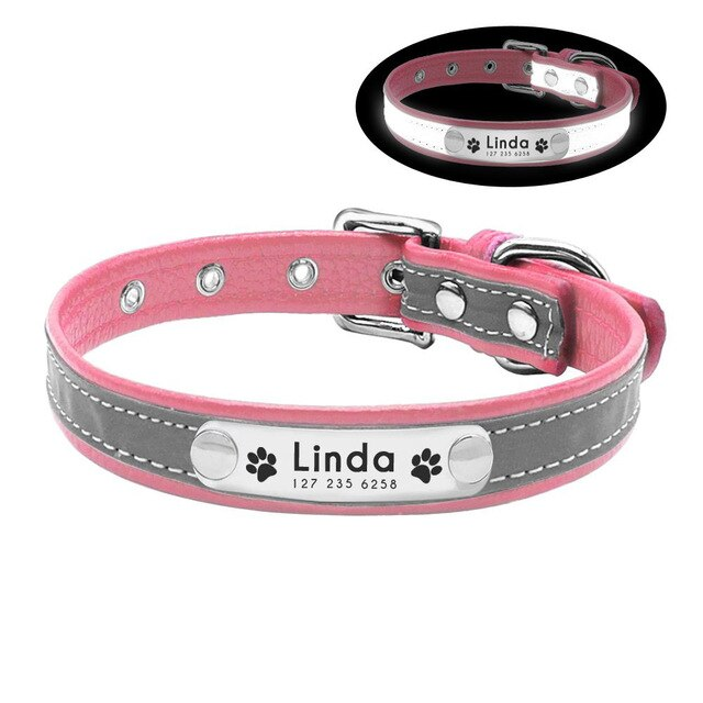 97 Personalized Dog Collar Reflective Leather ID Name Custom Engraved Puppy XS-L