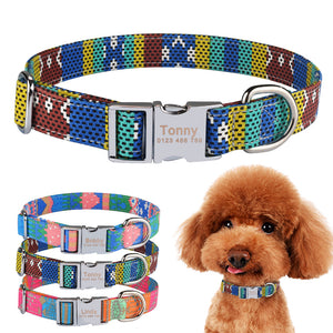 92 Fabric Personalized Dog Collar Custom Engraved Puppy Name Adjustable Pet S M L