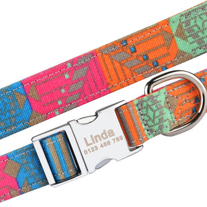 95 Fabric Dog Collar Personalized Custom Engraved Puppy Name Adjustable Pet S M L