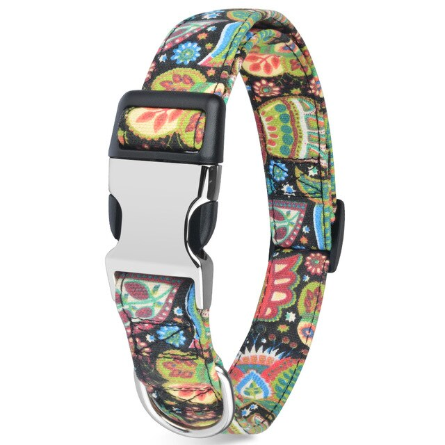 99 Small Medium Large Nylon Cool Pet Dog Collar Floral Puppy Pitbull Personalized Dog Collars