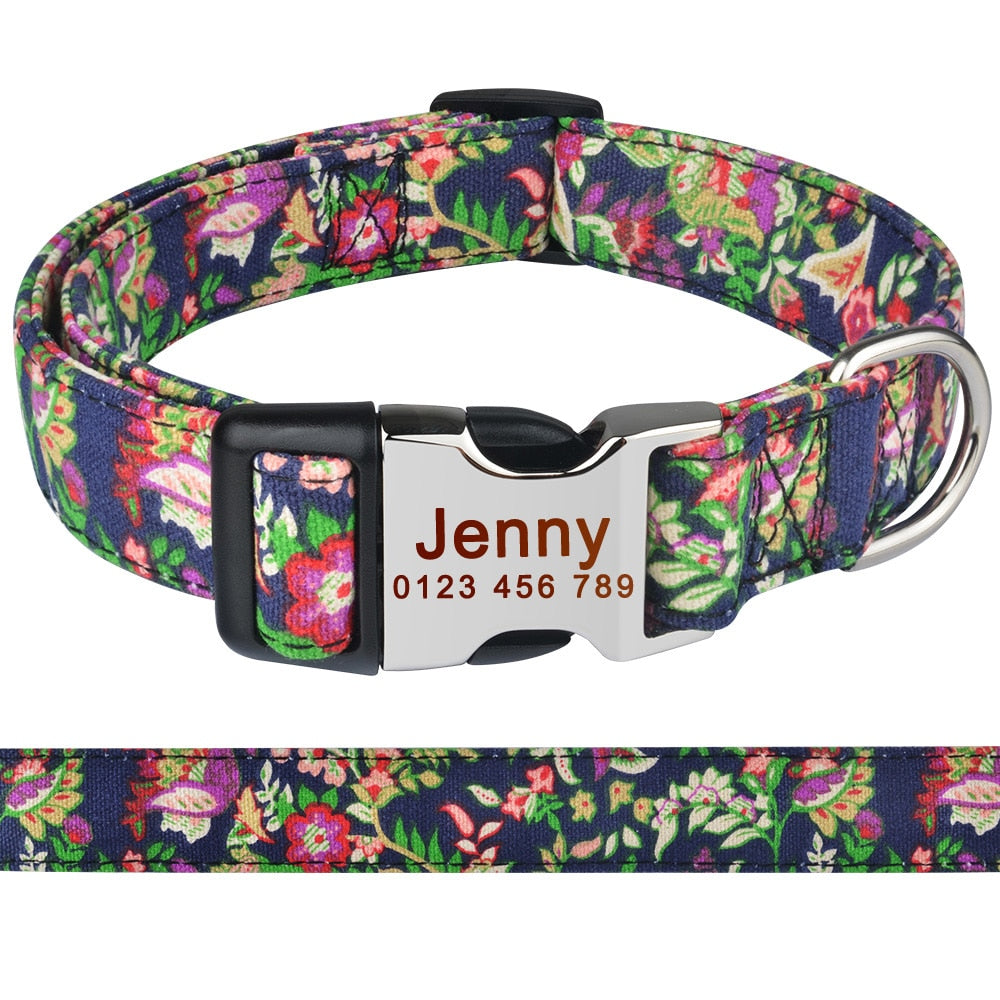 92 Polyester Personalized Dog Collar Custom Engraved Small Medium ID Name Puppy
