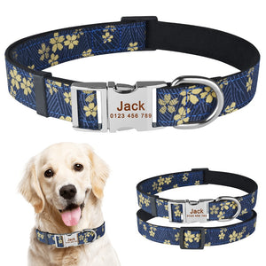 91 Adjustable Nylon Personalized Dog Collar Floral Cusotm Engraved Puppy Dogs Name