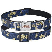 Load image into Gallery viewer, 91 Adjustable Nylon Personalized Dog Collar Floral Cusotm Engraved Puppy Dogs Name