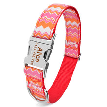 Load image into Gallery viewer, 98 Personalized Dog Collar Fabric ID Name Tag Buckle Customized Free Engraved Puppy S M L Dog Pet Name Puppy Information