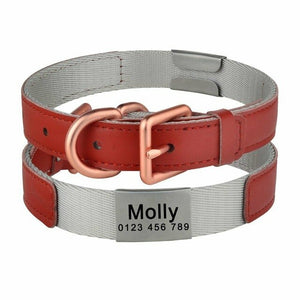 97 Adjustable Nylon Personalised Dog Collar Engraved Name Tag Dog ID Collar S M L Dog Collar with Leather Layer Padded