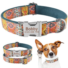 Load image into Gallery viewer, 91 Dog Collar Personalized Bohemia Style Puppy Name ID Custom Engraved Metal Buckle
