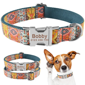 91 Dog Collar Personalized Bohemia Style Puppy Name ID Custom Engraved Metal Buckle