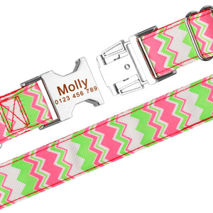 98 Personalized Dog Collar Fabric ID Name Tag Buckle Customized Free Engraved Puppy S M L Dog Pet Name Puppy Information